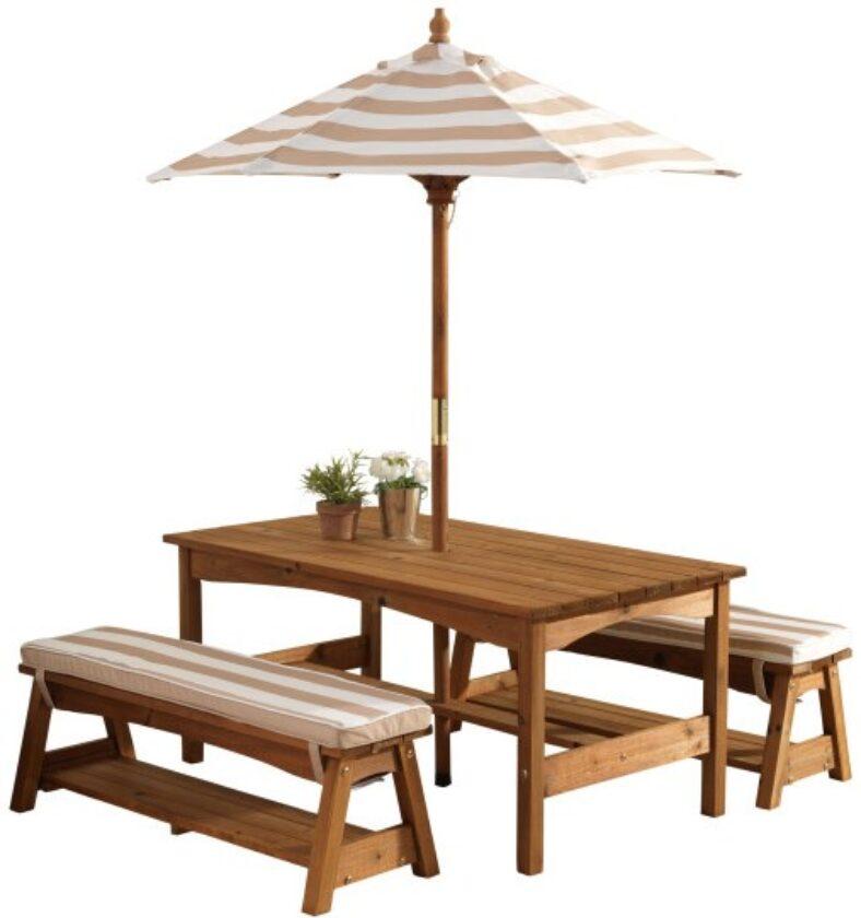 фото Набор: стол и скамейки с зонтом KidKraft 00500_KE