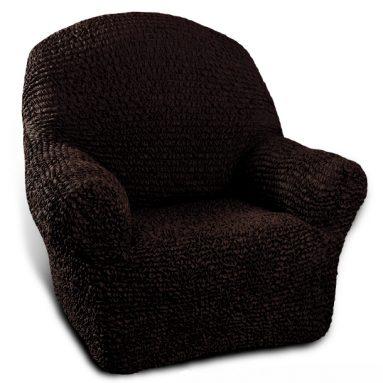 Натяжной чехол на кресло Еврочехол «Микрофибра. Черный шоколад»