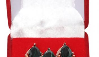 Подарочный комплект украшений «Золотой век». Цвет: изумрудный