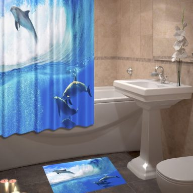 Набор для ванной комнаты: шторка и коврик ТамиТекс «Дельфины»