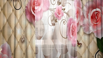 Фотокомплект: тюль и шторы ТамиТекс «Натуральный рельеф»