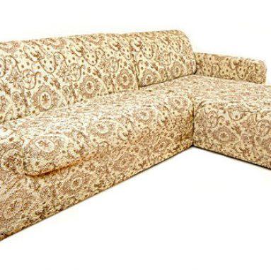 Натяжной чехол на угловой диван с выступом справа Еврочехол «Виста. Флоренция»