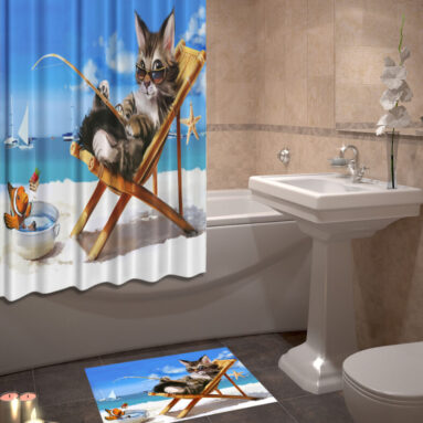 Набор для ванной комнаты: шторка и коврик ТамиТекс «Кот на пляже»